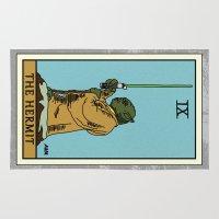 tarot Area & Throw Rugs featuring The Hermit - Tarot Card by kamonkey