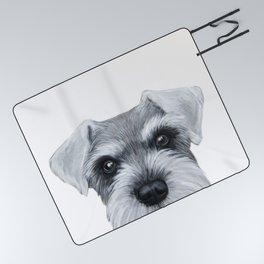 Schnauzer Grey&white, Dog illustration original painting print Picnic Blanket