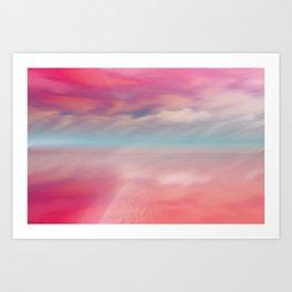 """Rose quartz sky on beach shore"" Art Print"