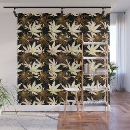 Cannabis Leaf (Golden Calico) - Black Wall Mural