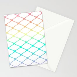 Fishnets in Pastel Rainbow on White Background Stationery Cards