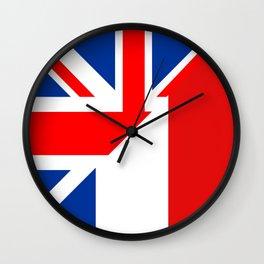 english french country half flag great britain united kingdom france Wall Clock
