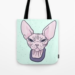 Super Grumpy Wrinkly Naked Sphynx Kitty - Nekkie with an Attitude - Line Drawing Tattoo Style - Mint Background Tote Bag