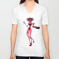 cocktail V-neck T-shirts featuring Bloody cocktail by JackPot