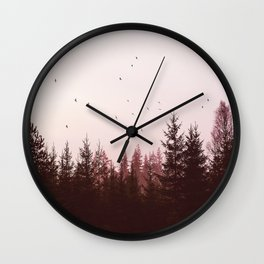 Pinky Sunset Forest Wall Clock