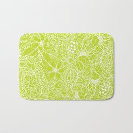 Modern white hand drawn floral lace illustration on lime green punch Bath Mat
