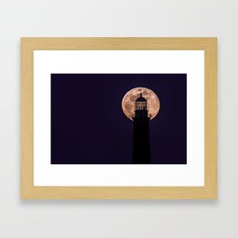 Blue Moon through North Tower Framed Art Print