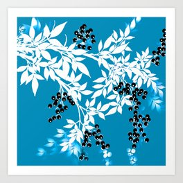 TREE BRANCHES BLUE AND WHITE WITH BLACK BERRIES TOILE Art Print