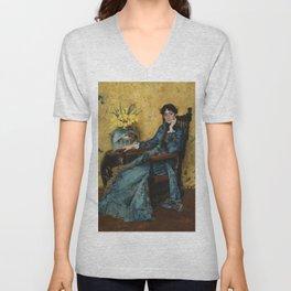 """William Merritt Chase """"Portrait of Dora Wheeler"""" Unisex V-Neck"""