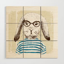 Hipster Rabit with Style Wood Wall Art