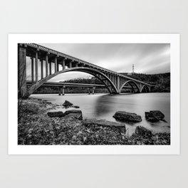 Lake Taneycomo Bridge  - Branson Missouri - Black and White Art Print