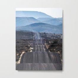 Endless road on desert Metal Print