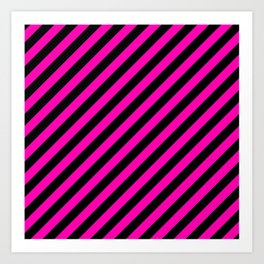 Bright Hot Neon Pink and Black Candy Cane Stripes Art Print