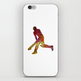 Cricket player batsman silhouette 03 iPhone Skin