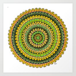 Lucky Shamrock Green and Gold Mandala Colored Pencil Illustration by Imaginarium Creative Studios Art Print