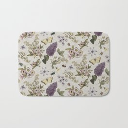 spring flowers with butterfly and beetles II Bath Mat