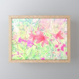 Red lilies in the garden Framed Mini Art Print