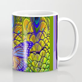 BLUE-PURPLE BUTTERFLY PEACOCK FEATHER PATTERNS Coffee Mug