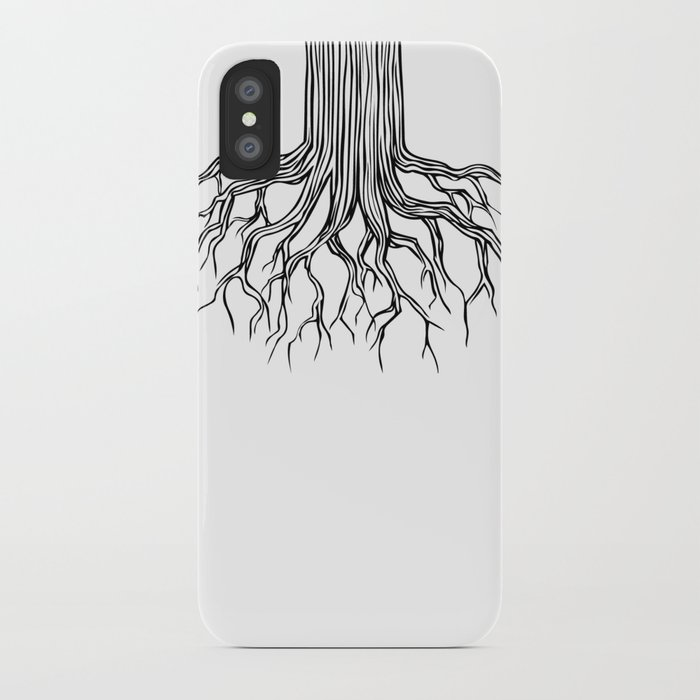 Tree Root Drawing (black on white) iPhone Case