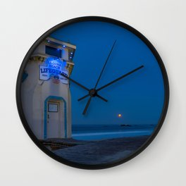 Moonset From Main Beach Wall Clock