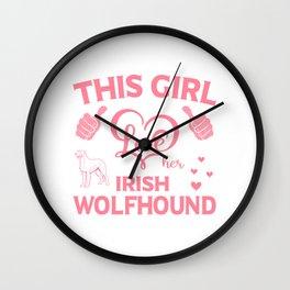 This Girl Love Her Irish Wolfhound pw Wall Clock