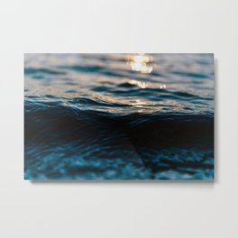 Blue Ocean Waves and Sunset Metal Print