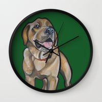 harry Wall Clocks featuring Harry by Pawblo Picasso