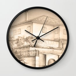 Old house | sketch Wall Clock