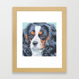 Beautiful Tricolour Cavalier King Charles Spaniel Dog Painting by L.A.Shepard Framed Art Print