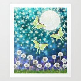 the moon, stars, luna moths, & dandelions Art Print