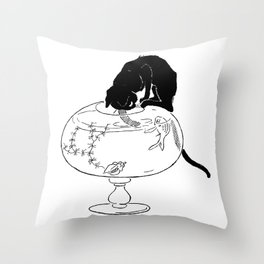 "Théophile Steinlen ""Cats: Pictures without Words (Cat and fishbowl)"" (2) Throw Pillow"