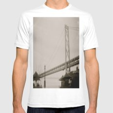 Coffee by the Bridge Mens Fitted Tee MEDIUM White