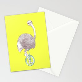 Ostrich on Monocycle Stationery Cards