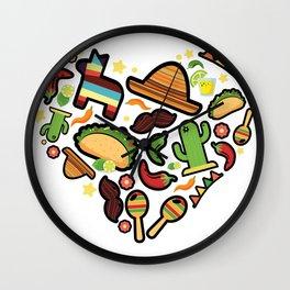 Love Cinco De Mayo Mexican Party Costume Wall Clock