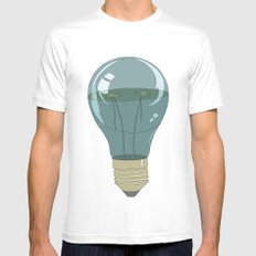 Life in a lightbulb. Night White MEDIUM Mens Fitted Tee