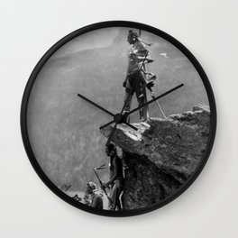 Eagle's Lookout, Blackfoot tribe members, Glacier Park, Montana, 1913 black and white photography Wall Clock
