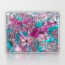 Modern pink turquoise floral watercolor handdrawn pattern Laptop & iPad Skin