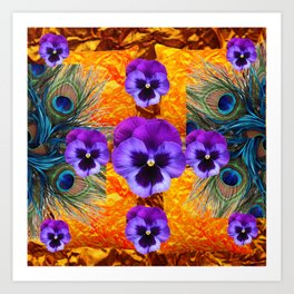 PURPLE PANSY GREEN PEACOCK  FEATHERS ON GOLD-PURPLE Art Print