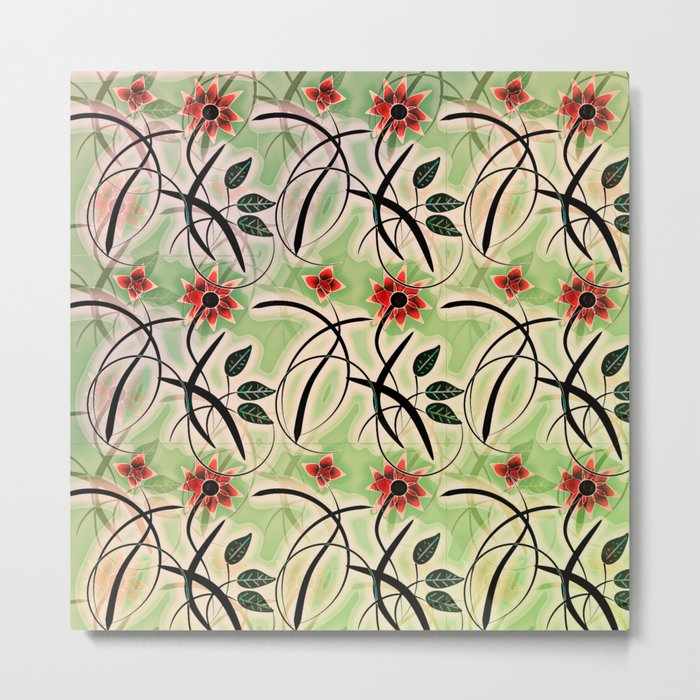 Flower Swirl Pattern Day Metal Print