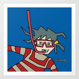 Snorkeling Boy Art Print