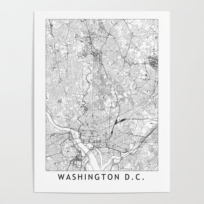 Washington D.C. White Map Poster