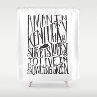 kentucky Shower Curtains featuring KENTUCKY MAN by Matthew Taylor Wilson