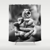 band Shower Curtains featuring Bang! by Mark Nelson