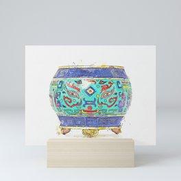 A CLOISONNE ENAMEL 'TAOTIE' TRIPOD CENSER watercolor by Ahmet Asar Mini Art Print