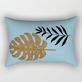 Gold Monstera and Black Palm Lesves Rectangular Pillow