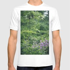 Purple Flowers Growing in the Forest White MEDIUM Mens Fitted Tee
