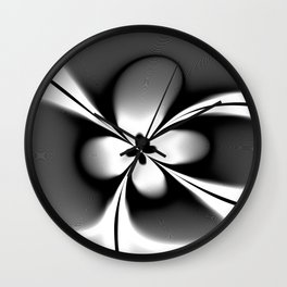 Black and White Abstract Floral  Wall Clock