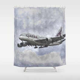 Qatar Airlines Airbus Art Shower Curtain
