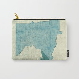 Minnesota State Map Blue Vintage Carry-All Pouch