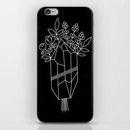 Crystal Flower Bouquet Black iPhone Skin